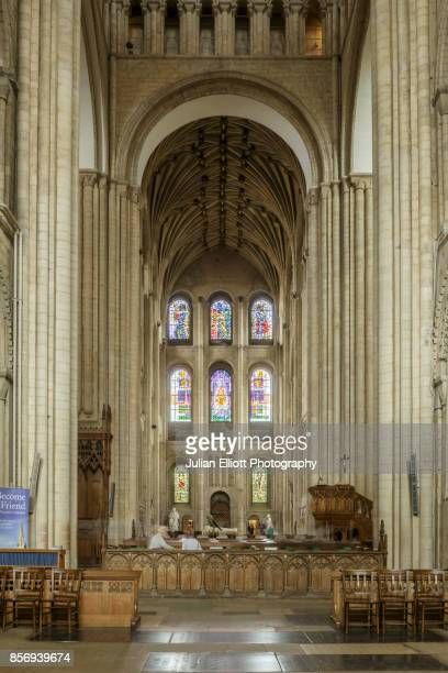 The nave of Norwich cathedral, UK.