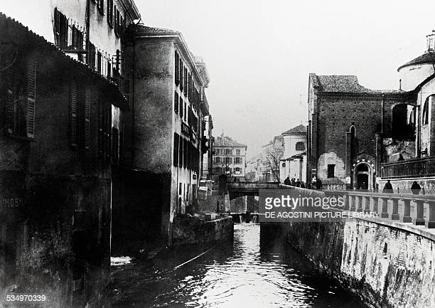 The naviglio in via Fatabenefratelli in Milan before being covered 1928 Italy 20th century