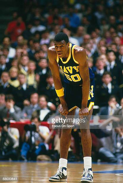 The Navy's David Robinson rests for a moment on the court during a NCAA basketball game against Duke