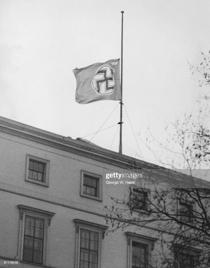 the nazi flag at half mast over the german embassy in carlton house pictures getty images. Black Bedroom Furniture Sets. Home Design Ideas