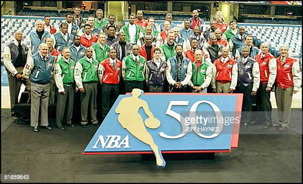 The NBA 50 greatest players pose for a group picture 08 February at the Gund Arena in Cleveland OH the site of the NBA AllStar game These 50 players...