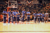 The NBA All Star Team during introductions from left to right Bob Love John Havlichek Connie Hawkins Paul Silas Dave DeBusschere Wilt Chamberlain Bob...