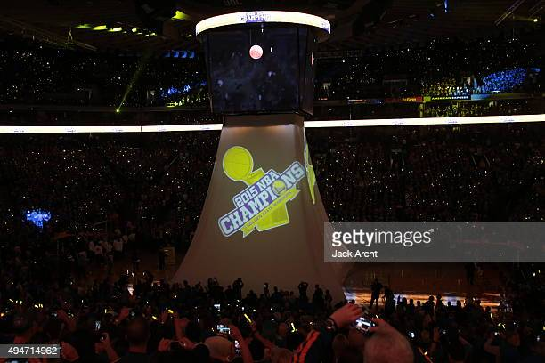 The NBA championship ring ceremony before the game against the New Orleans Pelicans on October 27 2015 at Oracle Arena in Oakland California NOTE TO...