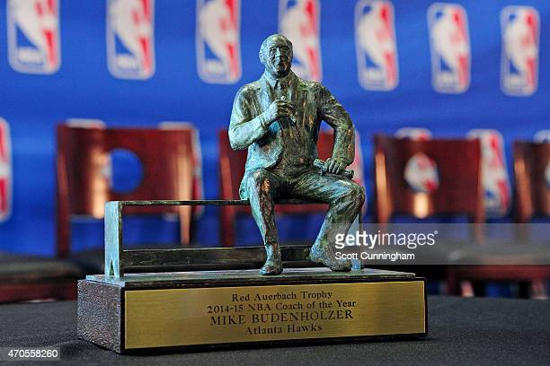 The NBA Coach Of The Year trophy is pictured during a press conference recognizing Head Coach Mike Budenholzer of the Atlanta Hawks on April 21 2015...