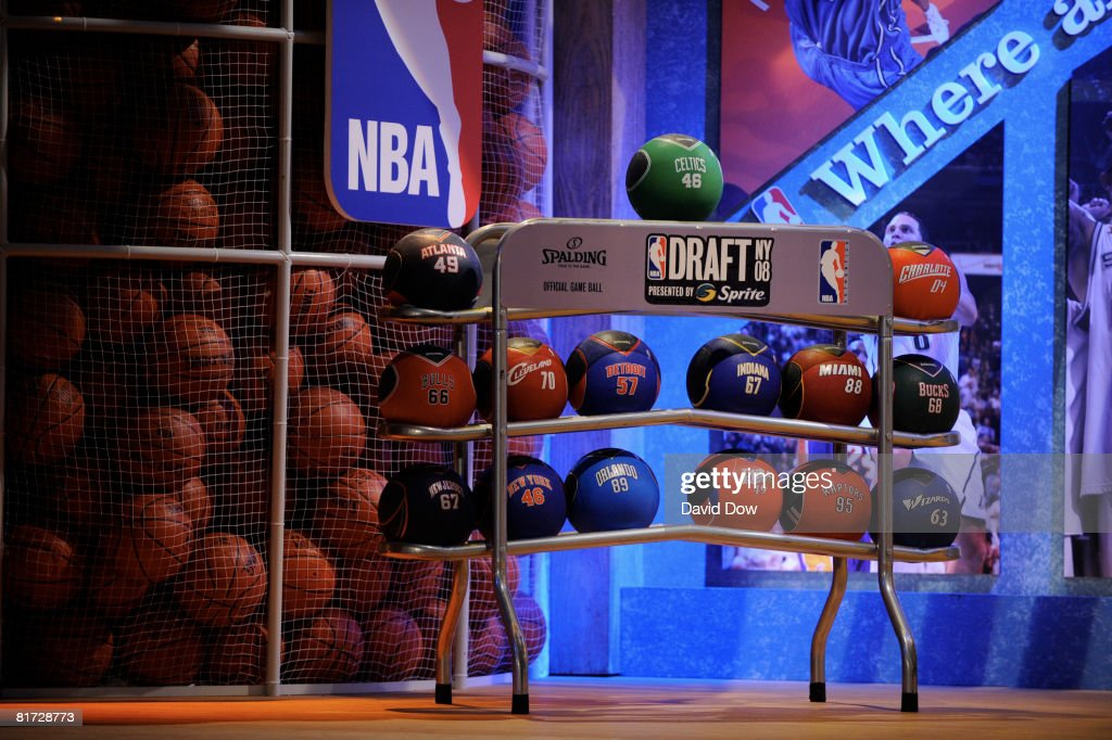 The NBA Draft ball rack during the 2008 NBA Draft on June 26, 2008 at the WaMu Theatre at Madison Square Garden in New York City.