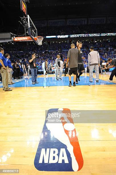 The NBA logo before Game Three of the Western Conference Finals between the San Antonio Spurs and the Oklahoma City Thunder during the 2014 NBA...
