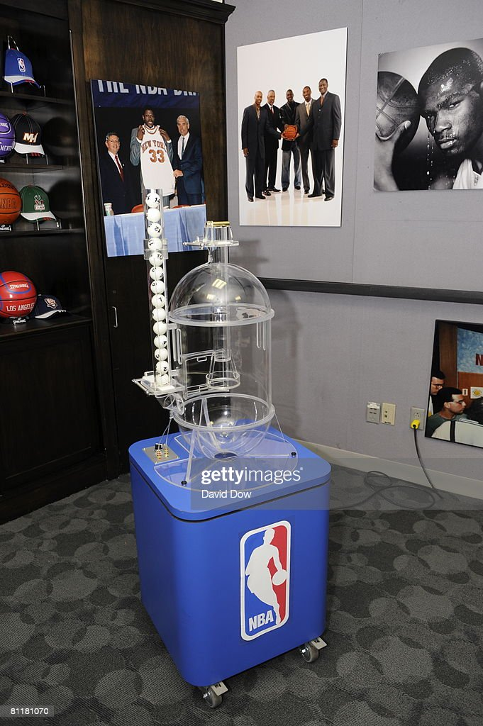The NBA Lottery machine used during the 2008 NBA Draft Lottery is seen at the NBATV Studios on May 20, 2008 in Secaucus, New Jersey.