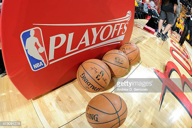 The NBA Playoffs logo and Official Spalding Balls before a game between the Los Angeles Clippers and Houston Rockets in Game Five of the Western...