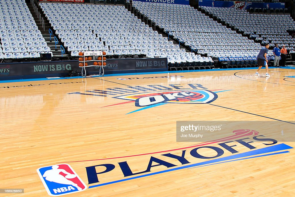 The 'NBA Playoffs' logo sits on display before the Memphis Grizzlies played the Oklahoma City Thunder in Game Five of the Western Conference Semifinals during the on May 15, 2013 at the Chesapeake Energy Arena in Oklahoma City, Oklahoma.