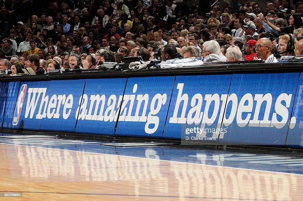 The NBA slogan 'Where amazing happens' is displayed on the scorers table during the game between the San Antonio Spurs and the Los Angeles Lakers on March 24, 2010 at the AT&T Center in San Antonio, Texas. The Lakers won 92-83.
