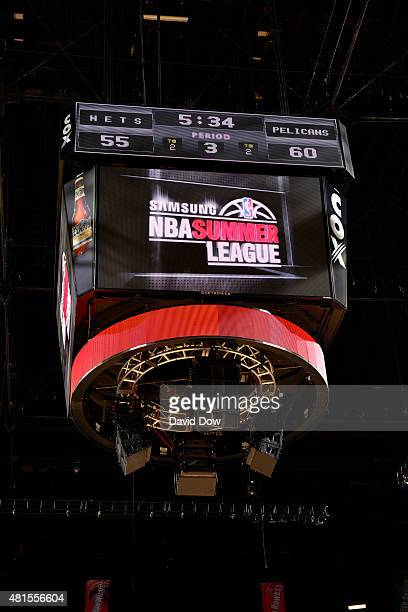 The NBA Summer League Logo displays on the jumbotron during a game between the New Orleans Pelicans and Brooklyn Nets during the 2015 NBA Las Vegas...
