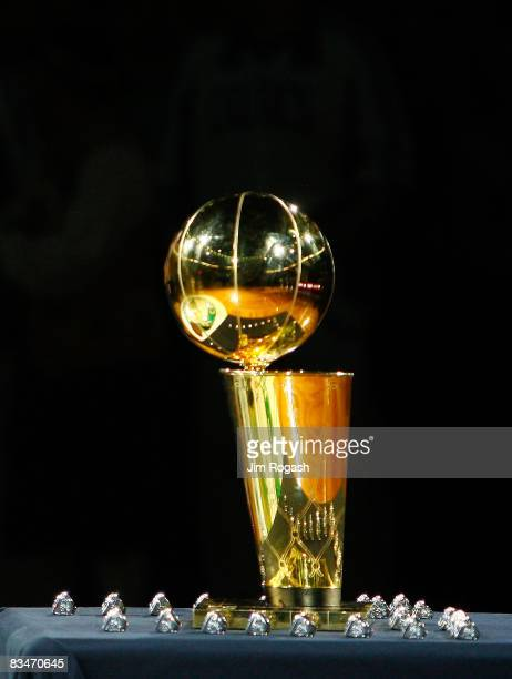 The NBA World Championship Trophy sits on the court during the 2008 NBA World Championship ceremony before a game against the Cleveland Cavaliers at...