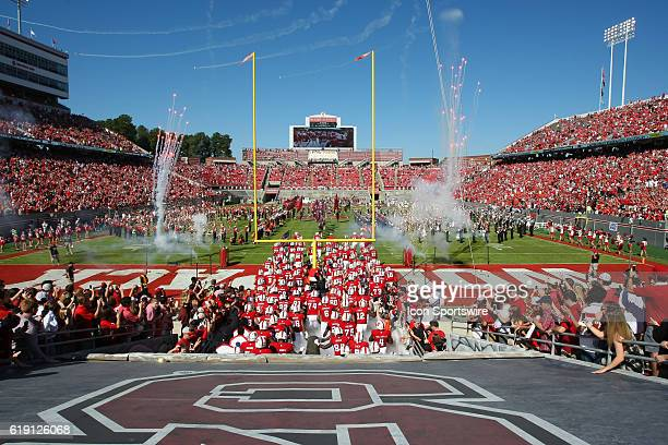 The NC State Wolfpack take the field prior to the game between the Boston College Eagles and the NC State Wolfpack on October 29 at CarterFinley...