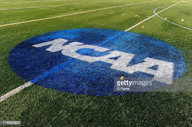 The NCAA logo is shown on the field where the Maryland Terrapins played against the North Carolina Tar Heels during the 2013 NCAA Division I Women's...