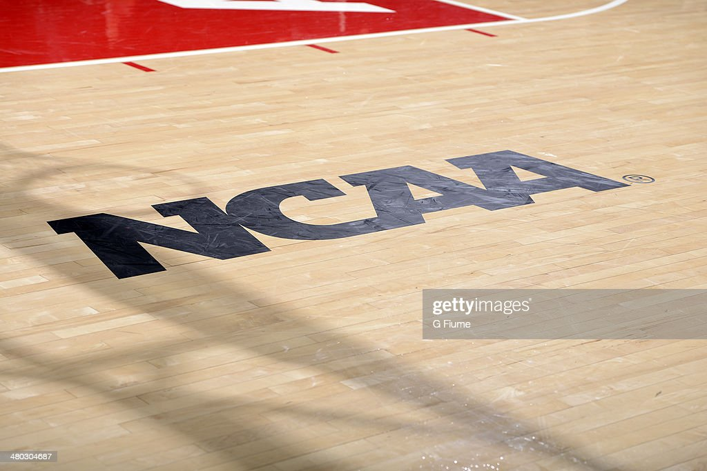 The NCAA logo on the court during the game between the Maryland Terrapins and the Army Black Knights during the First Round of the NCAA women's...