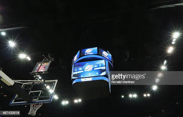 The NCAA scoreboard during the third round of the 2015 NCAA Men's Basketball Tournament at CenturyLink Center on March 22 2015 in Omaha Nebraska