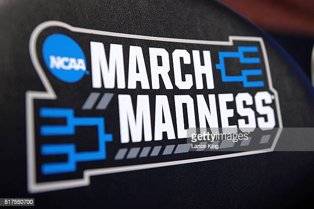 The NCAA's 'March Madness' logo is seen on chair backs during the West Regional Semifinal of the 2016 NCAA Men's Basketball Tournament at Honda...