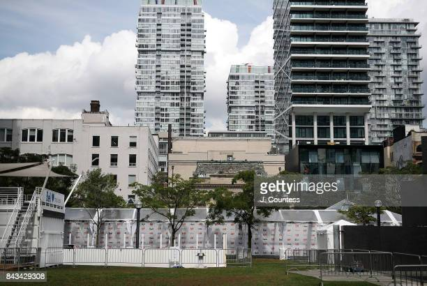 The nearly complete red carpet venue at Roy Thompson Hall is visable againt the Toronto Skyline as Toronto prepares for the 2017 Toronto...