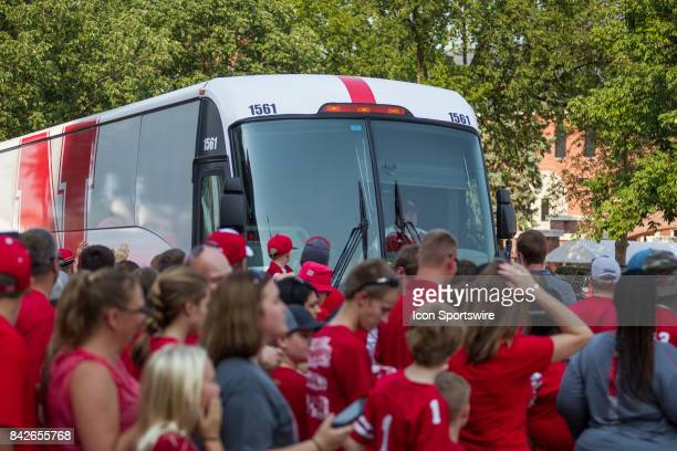 The Nebraska Cornhuskers arrive to take on Arkansas State Red Wolves on September 02 2017 at Memorial Stadium in Lincoln Nebraska Nebraska beat...