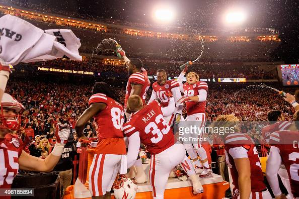 The Nebraska Cornhuskers celebrate after defeating the Michigan State Spartans game at Memorial Stadium on November 7 2015 in Lincoln Nebraska