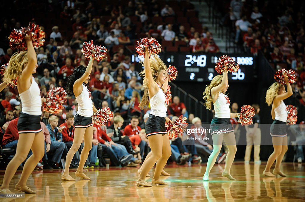 The Nebraska Cornhuskers cheerleaders during their game South Carolina State Bulldogs at Pinnacle Bank Arena on November 17, 2013 in Lincoln, Nebraska.