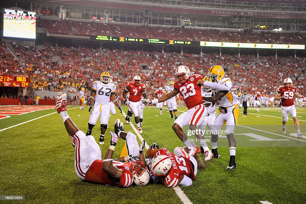 The Nebraska Cornhuskers defense prevent a touch down during their game against the Southern Miss Golden Eagles at Memorial Stadium on September 7, 2013 in Lincoln, Nebraska. Nebraska defeated Southern Miss 56-13.