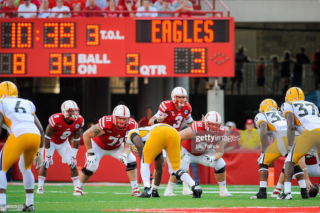 The Nebraska Cornhuskers offense waits to snap the ball during their game against the Southern Miss Golden Eagles at Memorial Stadium on September 7, 2013 in Lincoln, Nebraska.