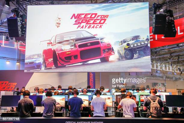 The Need for Speed stand is seen at the Gamescom 2017 gaming trade fair on August 22 2017 in Cologne Germany Gamescom is the world's largest digital...
