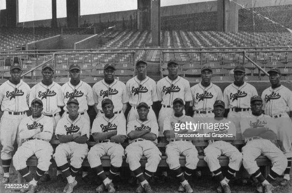 The Negro League Newark Eagles pose at home in Ruppert Stadium for a team portrait in 1939 Monte Irvin is in the back row far left and Mule Suttles...