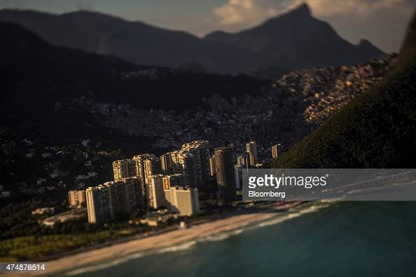 The neighborhood of Sao Conrado front and the slum of Rocinha rear stand near the ocean in this photo taken with a tiltshift lens in Rio de Janeiro...