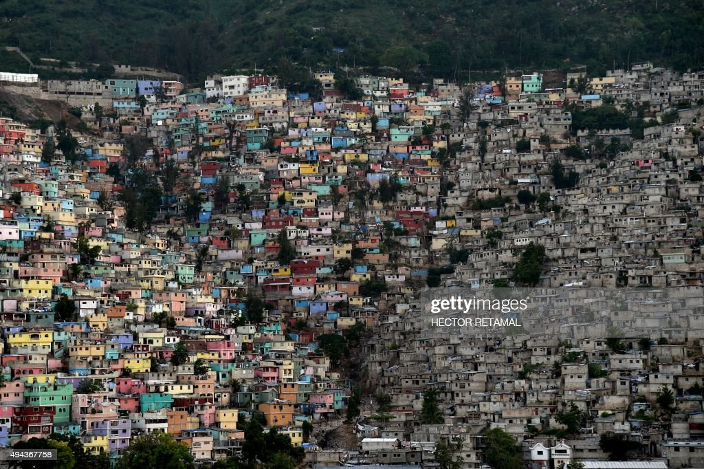 The neighborhoods of Jalousie Philippeaux and Desermites in the commune of Petion Ville Port auPrince are pictured on October 26 2015 AFP PHOTO /...