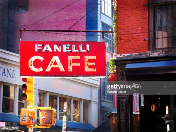 CONTENT] The Neon Sign of Fanelli Cafe in Soho New York
