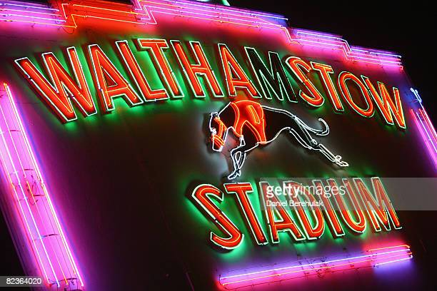 The neon sign of Walthamstow Greyhound Stadium is pictured on August 14 2008 in London England The famous Walthamstow Greyhound Stadium is set to run...