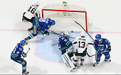 The net is off its moorings just as the puck crosses the line in a play that resulted in a disallowed goal by the Pittsburgh Penguins Involved in the...
