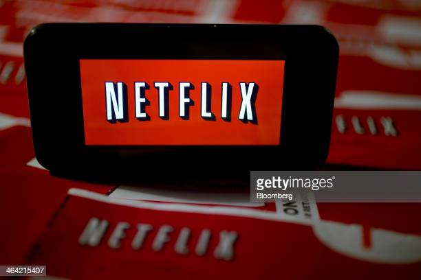 The Netflix Inc logo is displayed on an Apple Inc iPhone arranged for a photograph in Washington DC US on Tuesday Jan 21 2014 Netflix Inc the largest...