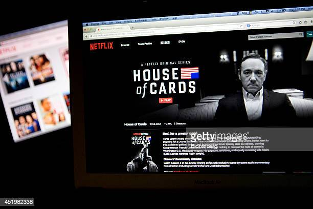 The Netflix Inc website displays the 'House of Cards' series on a laptop computer in this arranged photograph in Washington DC US on Thursday July 10...