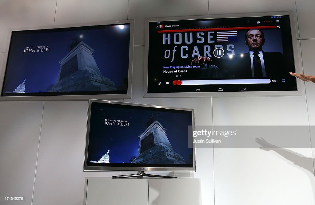 The Netflix show House of Cards is displayed during a demonstration of the new Google Chromecast SDK during a special event at Dogpatch Studios on July 24, 2013 in San Francisco, California. Google announced a new Asus Nexus 7 tablet and Chromecast SDK.