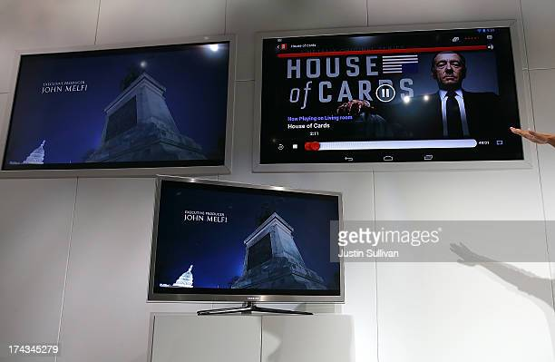 The Netflix show House of Cards is displayed during a demonstration of the new Google Chromecast SDK during a special event at Dogpatch Studios on...