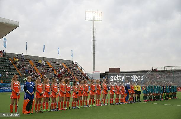 The Netherlands and Australia line up for the national anthems ahead of the match on Day 8 of the Hockey World League Final Rosario 2015 at El...