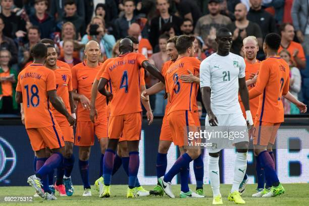 the Netherlands celebrate the goal of Davy Klaassen of The Netherlandsduring the friendly match between The Netherlands and Ivory Coast at the Kuip...