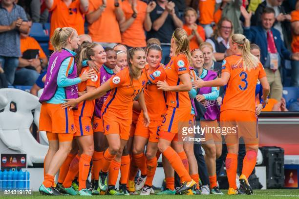 The Netherlands celebrate the goal of Lieke Martens of Holland Women during the UEFA WEURO 2017 quarter finale match between The Netherlands and...