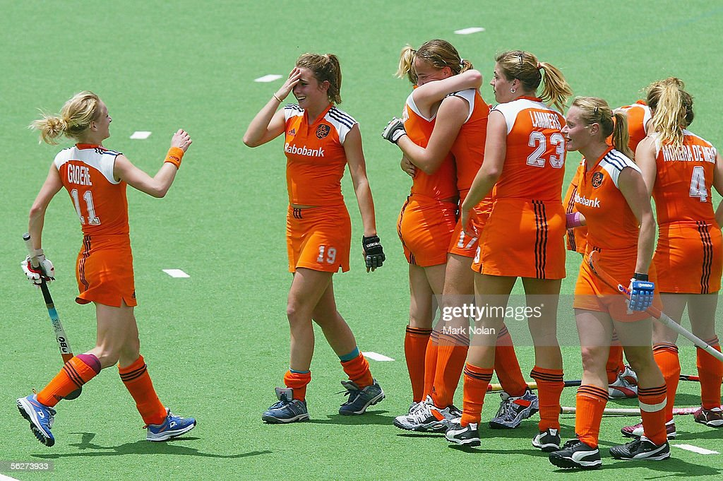 The Netherlands celebrate winning after Maartje Paumen scored from a penalty goal on full time during the Women's Hockey Champions Trophy first round...