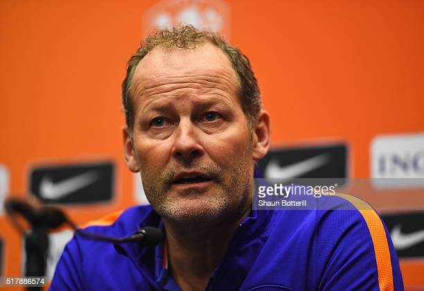 The Netherlands Coach Danny Blind talks during a press conference prior to the International Friendly match against England at Wembley Stadium on...