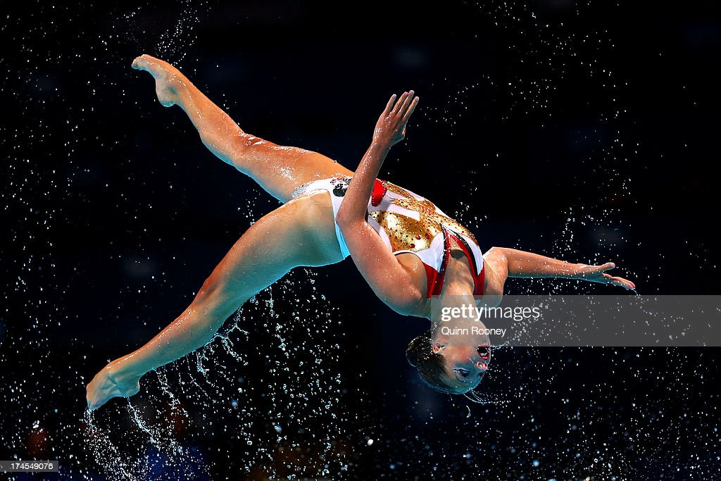 The Netherlands compete during the Synchronized Swimming Free Combination Final on day eight of the 15th FINA World Championships at Palau Sant Jordi...