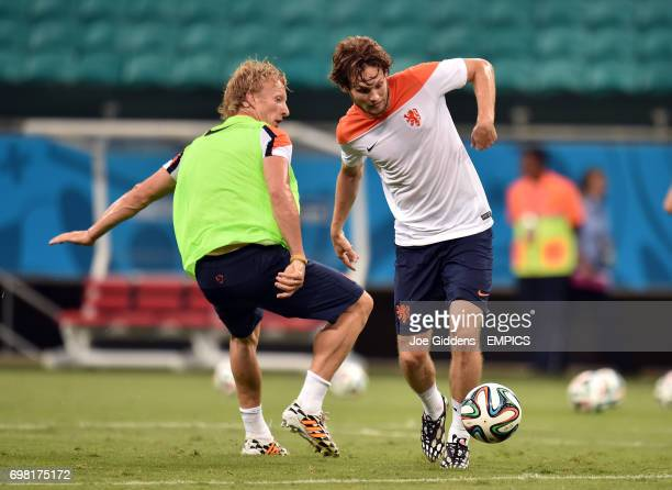 The Netherlands' Dirk Kuyt and Daley Blind
