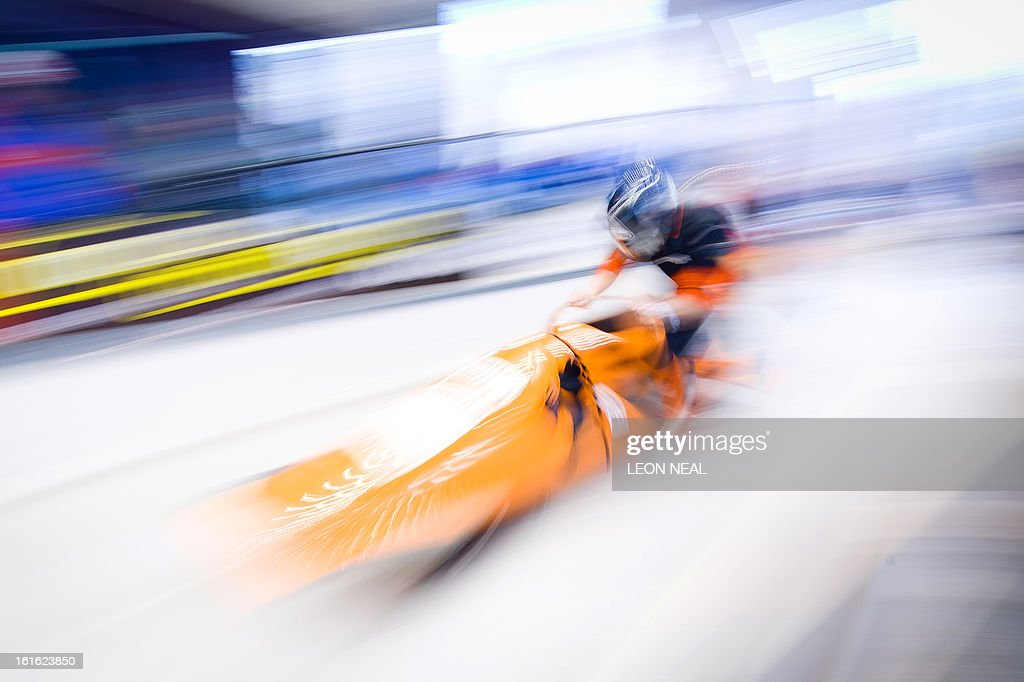 The Netherlands' Esme Kamphuis pushes off during a training run for the Bobsleigh Women category of the FIBT Bob and Skeleton World Cup 2012/23 at the Sanki sliding centre, near Rzhanaya Polyana on February 13, 2013. With a year to go until the Sochi 2014 Winter Games, construction work continues as tests events and World Championship competitions are underway.