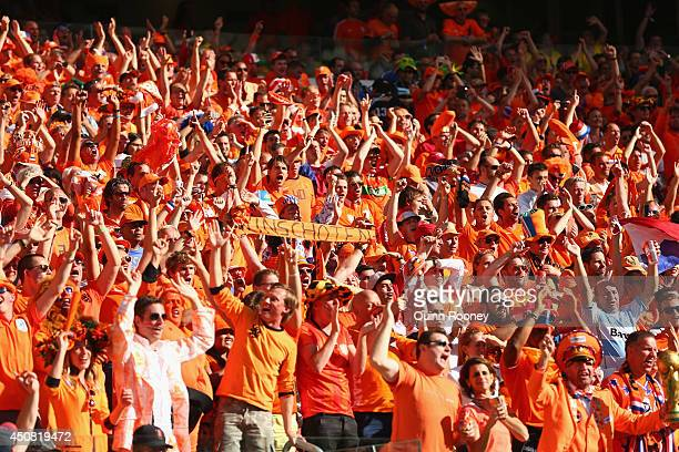 The Netherlands fans applaud their team at the end of the 2014 FIFA World Cup Brazil Group B match between Australia and Netherlands at Estadio...