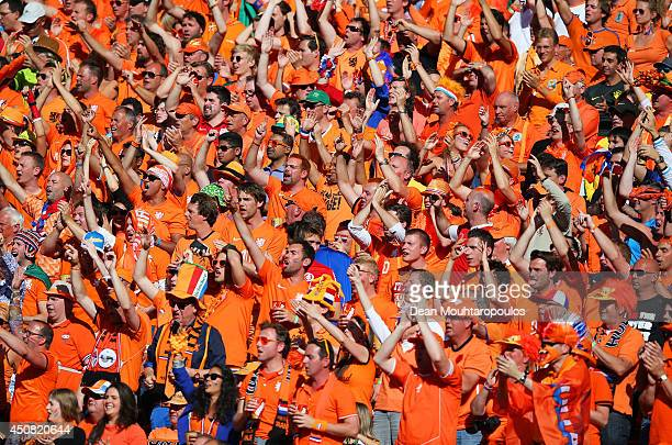 The Netherlands fans cheer during the 2014 FIFA World Cup Brazil Group B match between Australia and Netherlands at Estadio BeiraRio on June 18 2014...