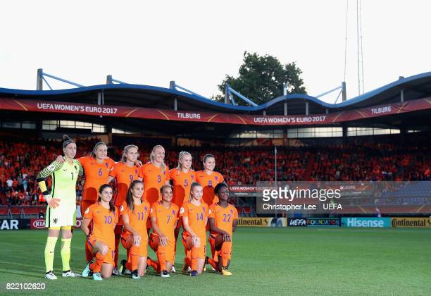 The Netherlands first eleven during the UEFA Women's Euro 2017 Group A match between Belgium and Netherlands at Koning Willem II Stadium on July 24...