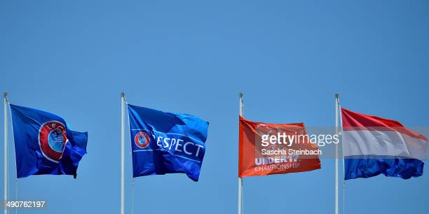 The Netherlands flag flutters surrounded by UEFA flags during the UEFA Under17 European Championship 2014 group A match between England and...